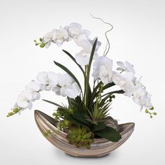 Real Touch Phalaenopsis Orchid with Succulents in Nautilus Bowl with Spheres
