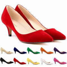 Ladies Sexy Low Mid Kitten Heels Shoes Faux Suede Pointed Toe Pumps Size 4 11   eBay