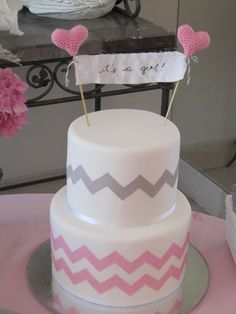 Cake for baby shower -- love the girl colors!