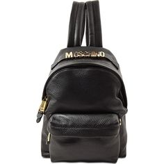 Moschino Small Backpack Grained Lettering (13.005 ARS) ❤ liked on Polyvore featuring bags, backpacks, black, rucksack bag, moschino, moschino bags, knapsack bag and initial bags