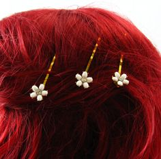 White Flower Hair Pins, Gold and White Flower Pins, 3 Hair Pin Set Vintage Jewelry Rhinestone Hair Pins For Wedding, Unique Hair Accessories by FemByDesign on Etsy