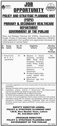 Pakistan Job Alert: Jobs-in-Primary-and-Secondary-Healthcare-Departmen...