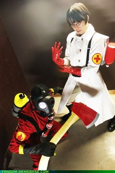 princeizumi's Red Pyro and Medic cosplay from Team Fortress 2. I'm sure Scout would love to...ahem...play with that doctor.
