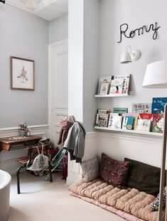 kid room decor, boy room decor or girl room decor with desk and book shelving Kids Room Bed, Girl Room, Kids Bedroom, Bedroom Decor, Boy Decor, Boys Room Decor, Shared Bedrooms, Decoration Inspiration, Childrens Room Decor