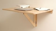 Repurpose an IKEA folding table into a collapsible standing desk. Wall Mounted Folding Table, Wall Mounted Desk, Folding Walls, Folding Desk, Wall Desk, Wall Shelves, Folding Chairs, Ikea Wall, Ikea Desk