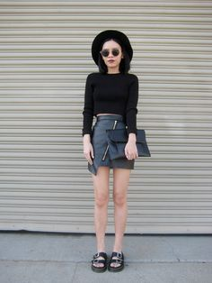 30 ways to wear a black leather skirt - black crop top + sandals and brimmed hat  // 1 Fine Dai