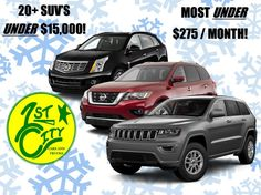 Winter is on its way!!! Get prepared with an AWD/4WD SUV before the first snowfall!   First City has 20+ SUV's UNDER $15,000!!!  MOST UNDER $275 / Month!!! City Car, Trucks, Cars, Winter, Autos, Truck, Vehicles, Automobile, Car