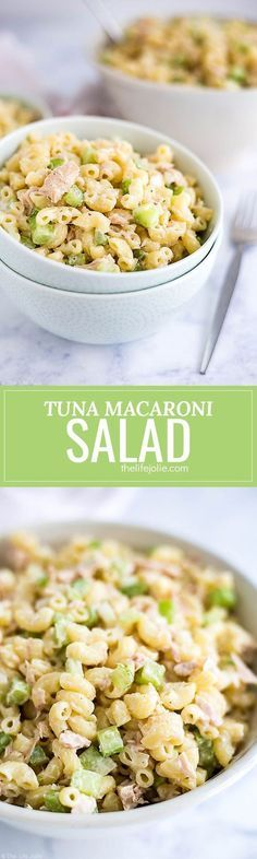 This classic Tuna Macaroni Salad recipe is the best cold salad to make for your next spring or summer picnic. It's such an easy side dish to throw together with simple ingredients like tuna, pasta, celery and mayonnaise and is full of fresh and delicious