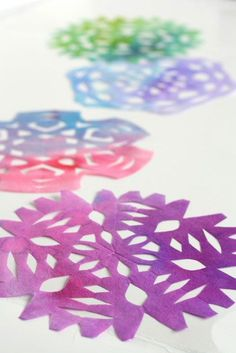 so easy, and so pretty!!  Beautiful Craft for Kids: Coffee Filter Snowflakes   CBC Parents