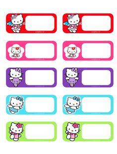 Preschool Cute Name Badges - Preschool Children Akctivitiys Printable Name Tags, Printable Labels, Printable Paper, Notebook Labels, Name Tag Templates, Hello Kitty Imagenes, Homemade Journal, Bon Point, School Labels