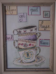 mothers days vintage tea cup illustration and by VioletCraftsuk, £12.00