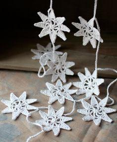 Crochet Garland - Wall Hanging - Small Doily Bunting  -- Snowflake garland - Snow White. $24.00, via Etsy.