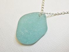18 Inch Necklace Genuine Beach Glass Aqua Blue Silver Plated for $4.99 at etsy.com
