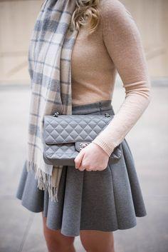 Coat: J.Crew, Sweater: Theory, Skirt: T by Alexander Wang, Scarf: J.Crew, Bag: Chanel (great vintage selection here), Shoes: Manolo Blahnik, Sunglasses: Celine, Earrings: Pamela Love, Ring: Ippolita