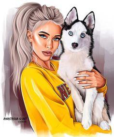 Cute Cartoon Drawings, Girly Drawings, Cartoon Art, People Illustration, Portrait Illustration, Illustrations, Akira, Beautiful Girl Drawing, Pop Art Drawing