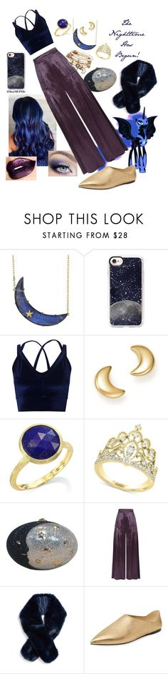 """""""The Nighttime Has Begun! : A Nightmare Moon Set"""" by thatmlplife ❤ liked on Polyvore featuring Andrea Fohrman, Casetify, Miss Selfridge, Bloomingdale's, Marco Bicego, Effy Jewelry, Judith Leiber, Temperley London, Halogen and Prada"""