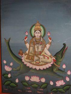 The Goddess Ganga Riding her Crocodile