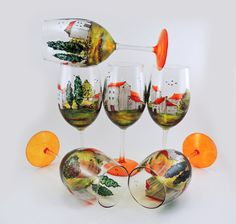 Hand painted glasses Set of 6 white wine by CreationsdeFlorence
