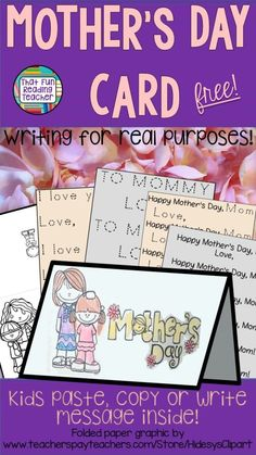 Fun and easy Mother's Day card for kindergarten, grade students to make for mom! Primary Teaching, Teaching Activities, Classroom Activities, Classroom Freebies, Preschool Kindergarten, Teaching Resources, Teaching Ideas, Mothers Day Crafts, Happy Mothers Day