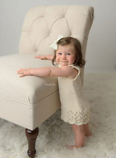 6M 12M Size Dress Lace Knitted Dress Cream by PaturiciPentruPitici