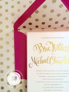 Blush Pink Cream & Gold Foil Wedding Invitation by MargotMadison
