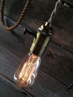 PureLume™ Vintage Look - Antik Messing Pendeleuchte Hängelampe mit Edison Nostalgie 40W Glühbirne: Amazon.de: Beleuchtung