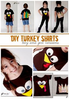 make your own super cute Turkey Shirts - boys and girls - face on the front, feathers on the back - - this is a super fun Thanksgiving craft!