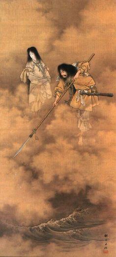 """Há milhares de anos, o mundo era apenas uma grande porção de água, de onde emergiram três deuses que foram morar em uma planície no céu. Um deles era Izanagi, que esposava a deusa Izanami, sugere-se que o terceiro membro da trindade seria Kuni-toko-tachi (eternamente deitado no céu). Diz a lenda da criação do universo, que o deus Izanagi desceu do céu junto a Izanami, e em seguida mergulhou sua lança no """"mar""""."""