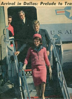 On November 22, 1963 - President John F. Kennedy and First Lady Jacqueline Bouvier Kennedy arrive at the Love Field airport in Dallas.