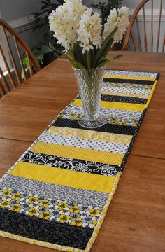 Yellow, Gray, Black and White Quilted Table Runner. $35.00, via Etsy.