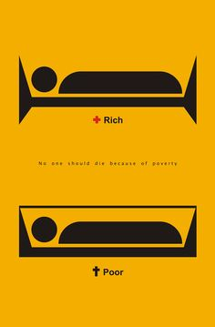 """Salome Koshkadze from Tbilisi, Georgia is in our first Poster Monday spot of the day for her poster entitled """"Rich & Poor"""". Creative Poster Design, Creative Posters, Design Posters, Creative Advertising, Advertising Design, Social Advertising, Social Awareness Posters, Social Art, Guerilla Marketing"""