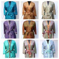 Women Boho Floral Short Kimono, Summer Bohemian Kimono Dress, Hippie Kimono Robe, Women Summer Boho Tunic Boho Beach Kimono Dress Fashion's Bohemian Kimono, Beach Kimono, Funky Fashion, Indian Fashion, Women's Fashion, Wedding Kimono, Kimono Outfit, Quality Lingerie, Short Kimono