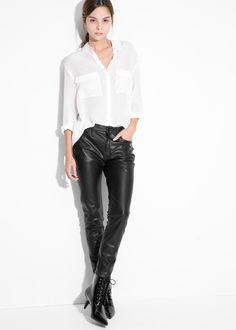 High-waist biker trousers - Women | MANGO