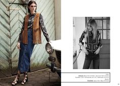 Antonia wears a fringe vest and denim in the story