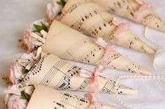 Sheet music wedding favors or aisle decorations or confetti cones Sheet Music Crafts, Music Paper, Wedding Events, Our Wedding, Dream Wedding, Weddings, Wedding Songs, Wedding Vintage, Elegant Wedding