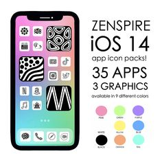 Zenspire iOS 14 app icons are available now! 35 different apps, 3 graphics, 9 different color packs to choose from!