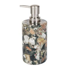 Make a sophisticated addition to your interior with this marble soap dispenser from Nordal. Featuring marble chips in a beige colourway, this unique soap dispenser has a complementing silver pump. Pai
