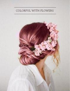 hair styles for long hair, hair color violet, flower crown, boho hair Up Hairstyles, Pretty Hairstyles, Wedding Hairstyles, Wedding Updo, Bridal Updo, Perfect Hairstyle, Prom Updo, Curly Hairstyle, Bridal Crown