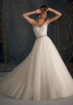 Gorgeous Wedding Dress with removable beaded shoulder straps - Frankc.com