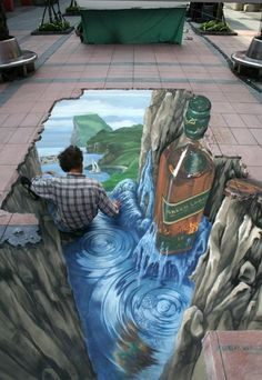 Street painting, also commonly known as pavement art, chalk art, and sidewalk art, is the performance art of rendering original and non-original artistic 3d Street Art, 3d Street Painting, Amazing Street Art, Best Street Art, Street Art Graffiti, Street Artists, Illusion Kunst, Illusion Art, 3d Sidewalk Art