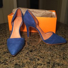 "Sapphire blue, 4"" suede heels Leather cushioned insole. Never worn, mint condition.  Madewell Shoes Heels"