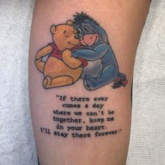 Uplifting Winnie the Pooh Tattoos Christopher Robin, Friend Tattoos Small, Small Tattoos, Best Friend Tattoo Quotes, Piglet Tattoo, Disney Tattoos Quotes, Cute Disney Tattoos, Beste Freundin Tattoo, Winnie The Pooh Tattoos