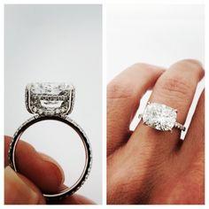 Cushion cut diamond set east/west in our micro pavé setting #cushioncut #diamond…