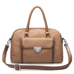 Khaki Jacquard fabric dual-use bag Cute Handbags, Vintage Handbags, We Carry On, Buy Bags, Online Shopping Shoes, Designer Totes, Brown Bags, Casual Bags, Cloth Bags