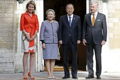PRINCESS MONARCHY - King Philip and Queen Mathilde received the Brussels Royal Palace Secretary General of the United Nations Ban Ki-Moon and his wife.