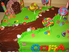 willy wonka cake - Made this for a friend's daughter. They were having a Willy Wonka Themed party and wanted a cake with the chocolate river.  Thanks to everyone on CC for all the design ideas!!!
