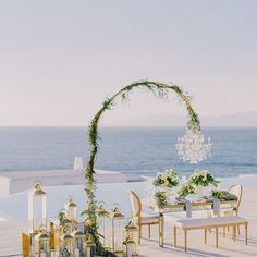 Looking for ideas for your wedding reception? Leave it to to make your dreams come true in the most amazing ways! Capture from the… Wedding Table, Wedding Reception, Reception Ideas, Wedding Venues, Santorini Wedding, Greece Wedding, Table Setting Inspiration, Wedding Inspiration, Wedding Decorations