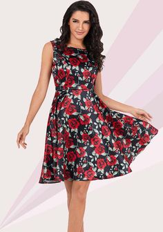 5beec1fee7 Casual Rose Print Vintage Sleeveless Women Fitted Waist Cocktail Evening  Party Dress. Shop for unique