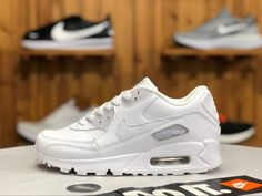 the latest 49c1c a190b This Nike Air Max 90 White Leather features the classic design and  legendary Max Air cushioning of the 1990 original, this time with clean  triple white all ...