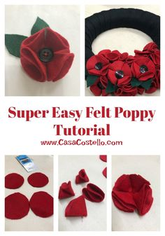 Super Easy Felt Poppy Tutorial - No fuss tutorial. These poppies can be used as part of a wreath or made into brooches Step-by-step tutorial to make Super Easy Felt Poppies. Can be used for on a wreath or as a Poppy Brooch. Mason Jar Crafts, Mason Jar Diy, Bottle Crafts, Felt Flowers Patterns, Fabric Flowers, Diy Flowers, Zipper Flowers, Felt Crafts Patterns, Wreath Crafts
